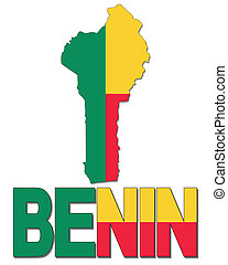 Benin map flag and text