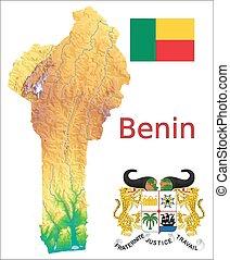Benin map flag coat
