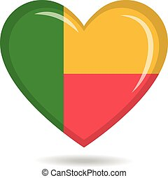 Benin national flag in heart shape vector illustration