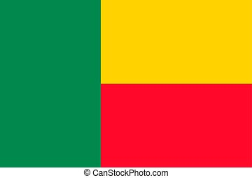 Benin national flag. Vector illustration. Porto-Novo
