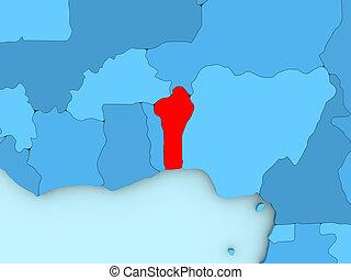 Benin on 3D map