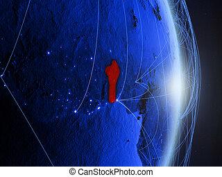 Benin on blue blue digital Earth