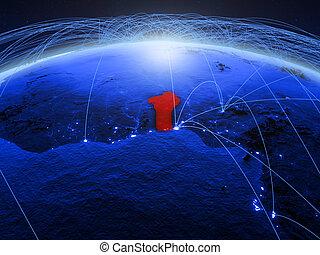 Benin on blue blue digital globe