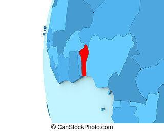 Benin on blue globe