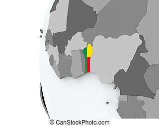 Benin on globe with flag
