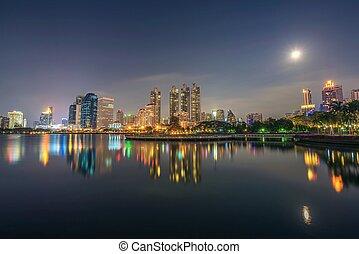benjakitti, liget, tó, bangkok, ratchada, éjszaka, helyezkedő