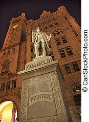 benjamin, bâtiment, vieux, statue, bureau, pennsylvanie, washington dc, franklin, étoiles, nuit, ave, poste