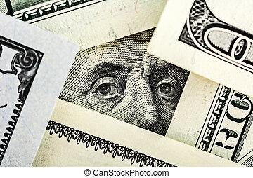 benjamin, banknote, dollar, gerahmt, banknoten, andere, ...