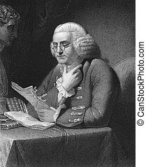 Benjamin Franklin (1706-1790) on engraving from 1835. One of...