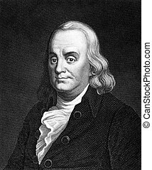 Benjamin Franklin (1706-1790) on engraving from 1859. One of...