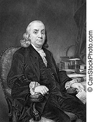 Benjamin Franklin (1706-1790) on engraving from 1873. One of...