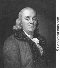 Benjamin Franklin (1706-1790) on engraving from the 1850s. One of the founders of the United States of America. Engraved by J. Thomson and published in London by Charles Knight, Ludgate Street & Pall Mall East.