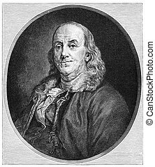 Benjamin Franklin (1706-1790) was one of the Founding Fathers of the United States. Illustration from Harper's Monthly magazine printed in 1883. The image is currently in public domain by the virtue of age.