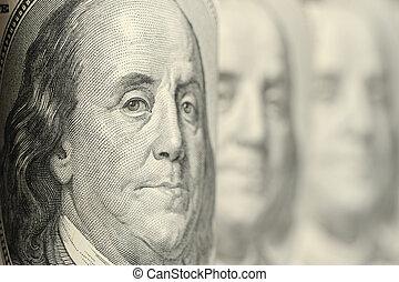 Benjamin Franklin. A fragment of a photo hundred dollar denominations