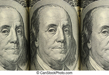 Benjamin Franklin. A fragment of a photo hundred dollar...