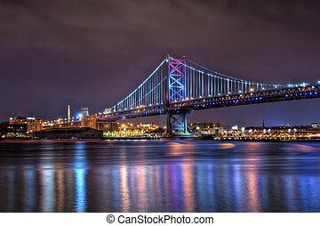 The Benjamin Franklin Bridge (also known as the Ben Franklin Bridge), originally named the Delaware River Bridge, is a suspension bridge across the Delaware River connecting Philadelphia, Pennsylvania and Camden, New Jersey.