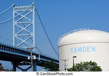Benjamin Franklin Bridge between Philadelphia, Pennsylvania and Camden, NJ. No brand names or copyright objects.