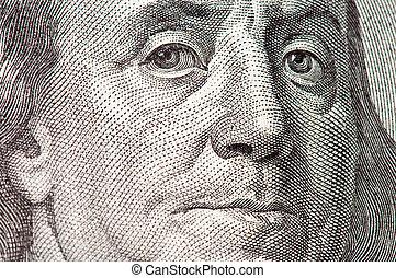 Benjamin Franklin macro from $100 dollar bill. Very lage...