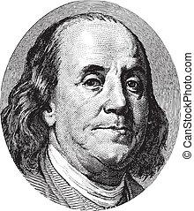Benjamin Franklin portrait from US dollar bill