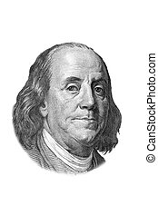 Benjamin Franklin portrait on one hundred US dollars banknote. Isolated on white. Black and white picture.