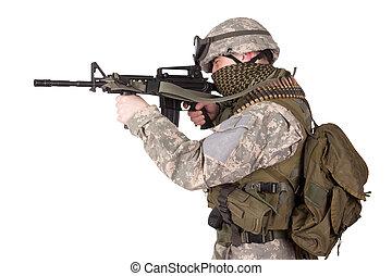 bennünket, katona, támadás, háttér, karabély, fehér