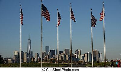 bennünket, zászlók, és, új york város