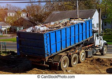 bennes ordures, être, déchets ménagers, recyclage, entiers, récipient, déchets