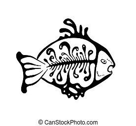 bennszülött, fekete, fish, mód, vektor