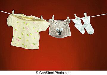 bens bebê, varal, penduradas