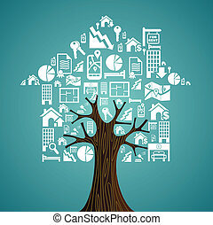 bens imóveis, ícones, árvore, concept., house., aluguel