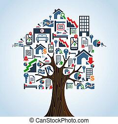 bens imóveis, ícones, casa árvore, aluguel, concept.