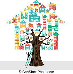 bens imóveis, ícones, casa, concept., árvore, escada, human,...