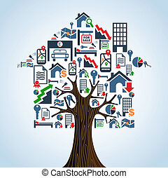 bens imóveis, ícones, concept., casa árvore, aluguel