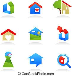 bens imóveis, ícones, /, logotipos