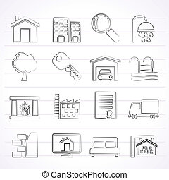 bens imóveis, ícones