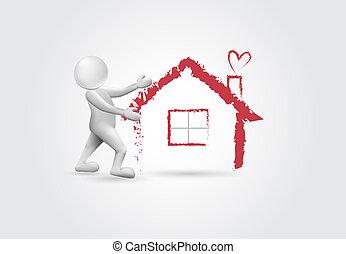 bens imóveis, casa, -3d, branca, pessoas, logotipo
