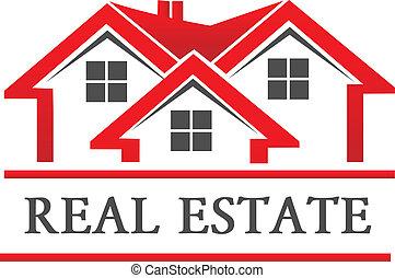 bens imóveis, casa, companhia, logotipo