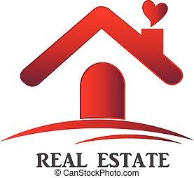 bens imóveis, casa, de, amor, logotipo