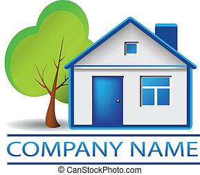 bens imóveis, casa, e, árvore, logotipo