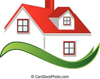 bens imóveis, casa, logotipo