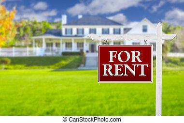 bens imóveis, casa, sinal, aluguel, frente