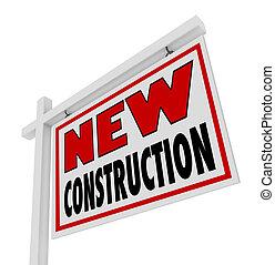 bens imóveis, casa, sinal venda, construção, repouso novo