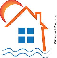 bens imóveis, casa, sol, e, ondas, desenho, logotipo, vetorial