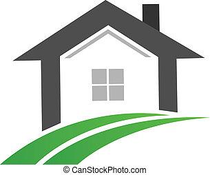 bens imóveis, casa, swoosh, logotipo, estrada