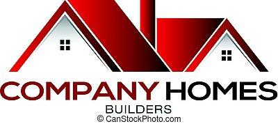 bens imóveis, casas, desenho, modelo, logotipo