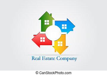 bens imóveis, casas, vetorial, trabalho equipe, logotipo, cartão id