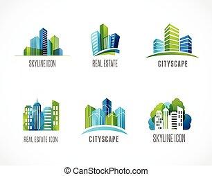 bens imóveis, cidade, skyline, ícones, e, logotipos