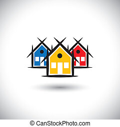 bens imóveis, coloridos, ícones, casa, abstratos, vetorial, propriedade, ou