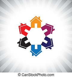 bens imóveis, coloridos, icon(symbol), houses(homes), círculo, ou