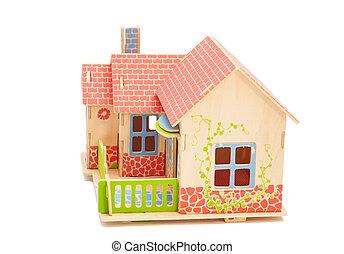 bens imóveis, concept.wooden, casa, branco, fundo